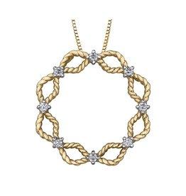 Yellow & White Gold (0.16ct) Circle Diamond Pendant