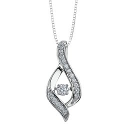 White Gold (0.25ct) Dancing Diamond Pendant