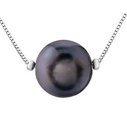 White Gold (7mm) Black Pearl Necklace