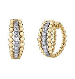 Yellow & White Gold (0.20ct) Diamond Hoop Earrings
