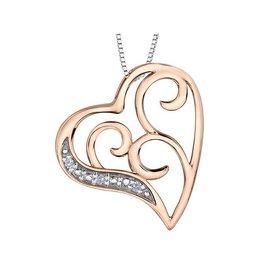 Forever Jewellery Rose & White Gold (0.015cttw) Diamond Heart Pendant