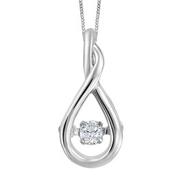 White Gold (0.045tw) Dancing Canadian Diamond Pendant
