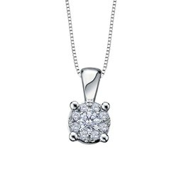 Forever Jewellery White Gold (0.065cttw) Starburst Diamond Pendant