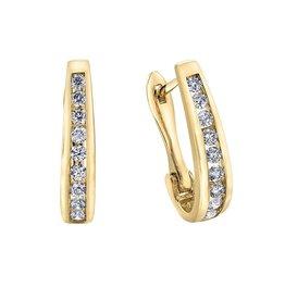 Forever Jewellery Yellow Gold (0.10cttw) Channel Set Diamond Hoop Earrings