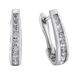 Forever Jewellery White Gold (0.10cttw) Channel Set Diamond Hoop Earrings