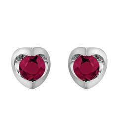 Forever Jewellery White Gold (4mm) Ruby Halfmoon Earrings