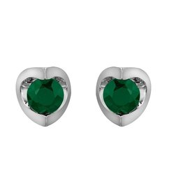Forever Jewellery White Gold (4mm) Emerald Halfmoon Earrings