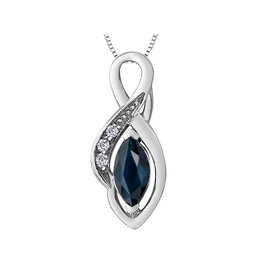 Forever Jewellery White Gold (0.018ct) Diamond and Sapphire Pendant