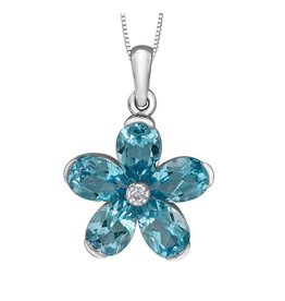 Forever Jewellery White Gold (0.01ct) Diamond and Swiss Blue Topaz Pendant