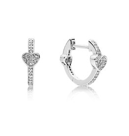 Pandora 297290CZ - Alluring Hearts Hoop Earrings, Clear CZ