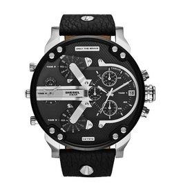 Diesel Daddies Black Leather Strap Watch
