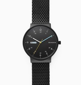 Skagen Ancher Black Steel-Mesh Day-Date Watch