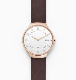 Skagen Grenen Dark Brown Leather Watch