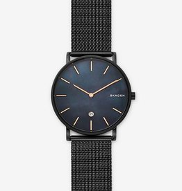 Skagen Hagen Slim Mother-of-Pearl Black Steel-Mesh Watch