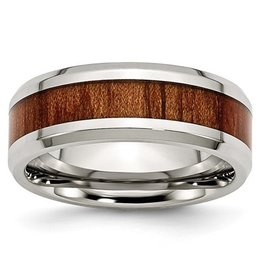 Red/Orange Wood Inlay Stainless Steel Band (8mm)