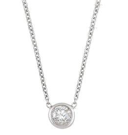 Single Bezel (0.10ct) Diamond Necklace White Gold