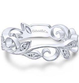 Gabriel & Co 14k White Gold Stackable Diamond Ring