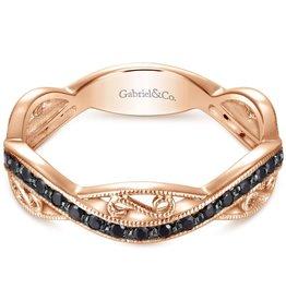 Gabriel & Co 14k Rose Gold Stackable Black Diamond Ladies Ring