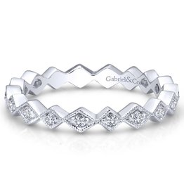 Gabriel & Co 14k White Gold Contoured Diamond Zig Zag Stackable Ring