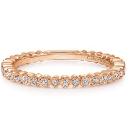 Gabriel & Co 14k Rose Gold Diamond Stackable Ladies Ring