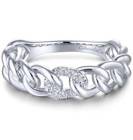 14k White Gold Diamond Stackable Ladies Ring