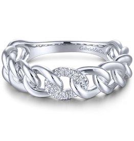 Gabriel & Co 14k White Gold Diamond Stackable Ladies Ring