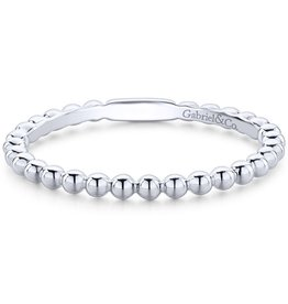 Gabriel & Co 14K White Gold Beaded Stackable Ladies Ring
