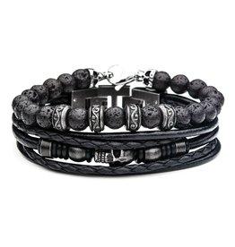 Inox Black Lava and Multi Skull Black Leather Stackable Bracelets