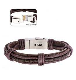 Inox Genuine Brown Leather Android and IOS USB Bracelet