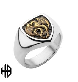 Antique Stamped Brass Dragon & Stainless Steel Polished Ring