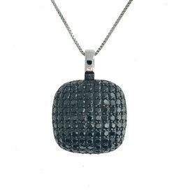 Rounded Square Pave Set Black CZ Pendant