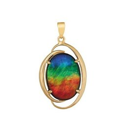 Rosalind Ammolite Pendant Yellow Gold (9x7mm)