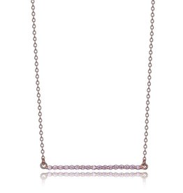 Elle Pink CZ Bar Necklace Sterling SIlver Rose Gold Plated
