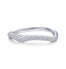 14k White Gold Curved Wedding Band