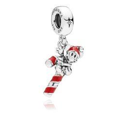 Pandora 797500EN09 - Disney, Santa Mickey's Candy Cane Dangle Charm