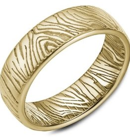Yellow Gold Band with Laser Engraved Accents