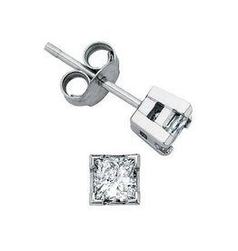 I am Canadian Princess Cut Canadian Diamond (0.10ct) White Gold Earrings