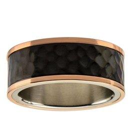 Inox Steel Tri-Tone Hammered Finish Ring