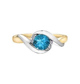 Blue Topaz & Diamond Ring Two Tone