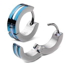 Stainless Steel Blue Plated Huggies Earrings
