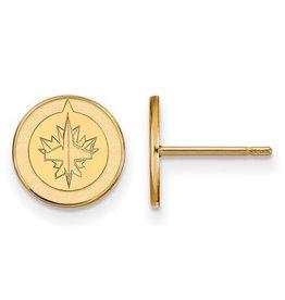 Winnipeg Jets (9mm) 10K Yellow Gold Earrings