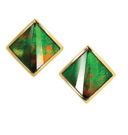 Nola Ammolite Yellow Gold Earrings