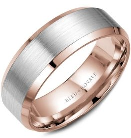 Brushed Rose and White Gold Band