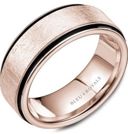 Diamond Brushed Rose Gold Band with Black Carbon Accentswith Line Detailing