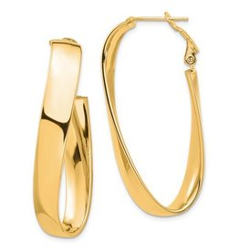 14k High Polished 7mm Twisted Omega Back Oval Hoop Earrings