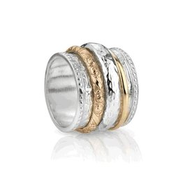 NAMASTE Meditation Ring Sterling Silver and 10K Gold