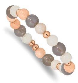 Stainless Steel Polished Rose IP Grey Agate Pink/White Aventurine Bracelet