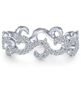 Gabriel & Co 14k White Gold Eternity Diamond Stackable Ladies Ring