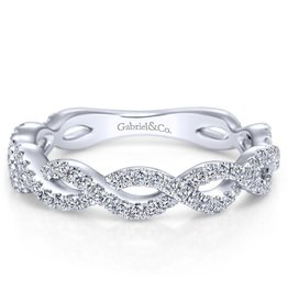 Gabriel & Co 14k White Gold Twisted Micro PavéAnniversary Band
