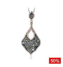 Brown & Clear Diamond (1.58ct) 14K rose Gold Pendant